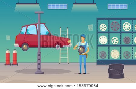 Auto repair shop service worker replaces damaged tyre and changing wheels with car lift poster vector illustration