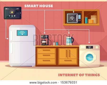 Internet of things iot smart house kitchen retro composition poster with refrigerator and coffee machine vector illustration poster