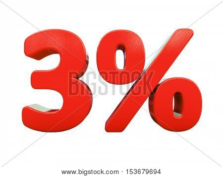 3d Render: Isolated 3 Percent Sign on White Background