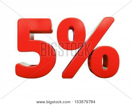 3d Render: Isolated 5 Percent Sign on White Background
