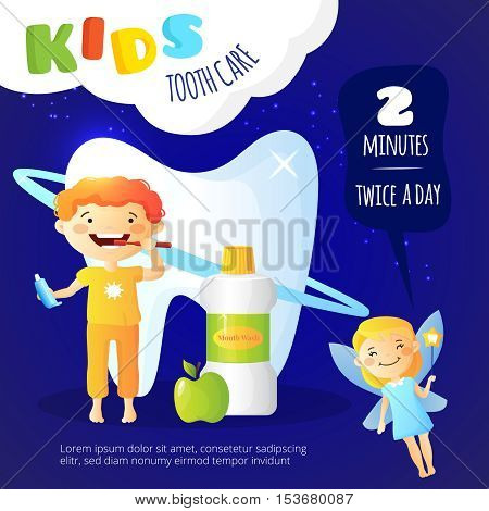 Kids dental care poster with mouth wash and tooth fairy symbols flat vector illustration