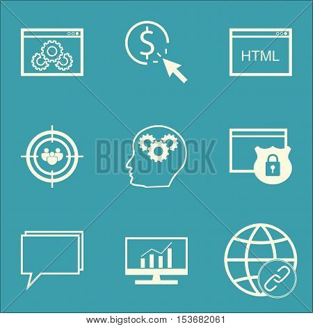 Set Of Seo Icons On Security, Conference And Connectivity Topics. Editable Vector Illustration. Incl