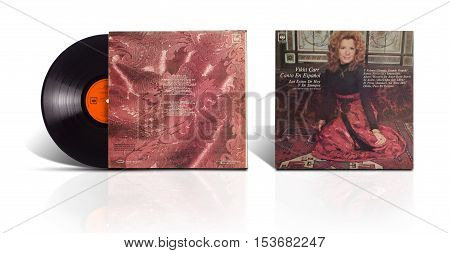 Rishon LeZion, Israel-August 3, 2016: Old vinyl stereo album Vikki Carr En Espanol: Los Exitos De Hoy Y De Siempre (The Hits Of Today And Always). The LP was produced in Mexico in 1972 by CBS/Columbia International S.A.