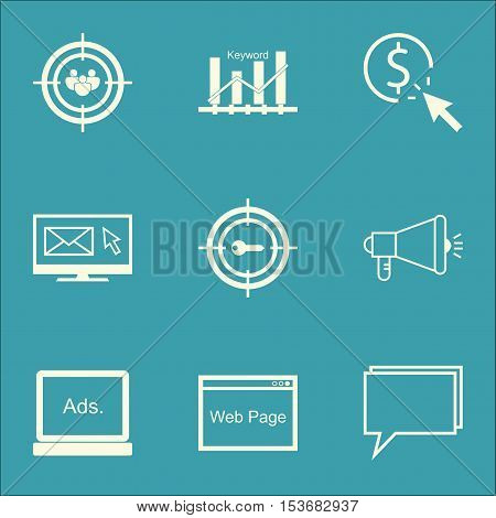 Set Of Seo Icons On Ppc, Newsletter And Focus Group Topics. Editable Vector Illustration. Includes O