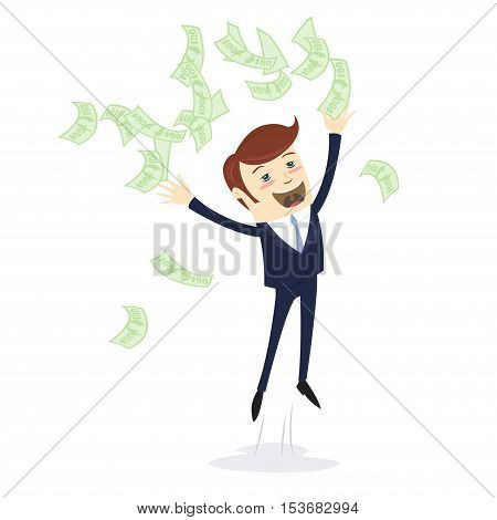 I Am Rich! Happy Young Businessman In Formalwear Throwing Money Up. Flat Style