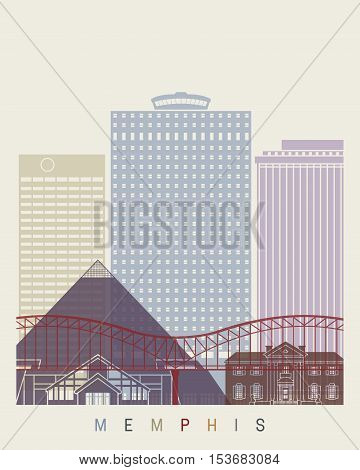 Memphis skyline poster in editable vector file