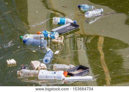 Scheveningen harbour the Netherlands - March 3 2016: plastic pollution in the water