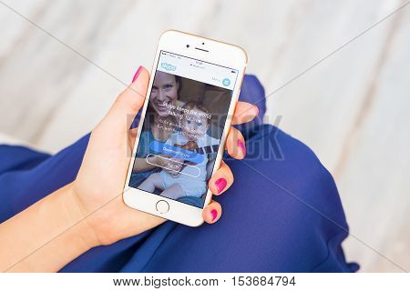 RIGA LATVIA - SEPTEMBER 8 2016: Skype website on smartphone.