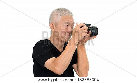 Asian Elderly Guy Start Taking Photo To Sale Online For Extra Income