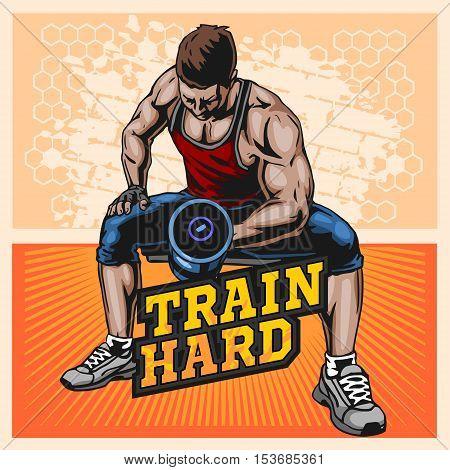 Bodybuilder doing exercise with dumbbells for biceps, vector illustration on light grunge background