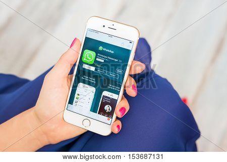 RIGA LATVIA - SEPTEMBER 8 2016: Whatsapp on App Store.