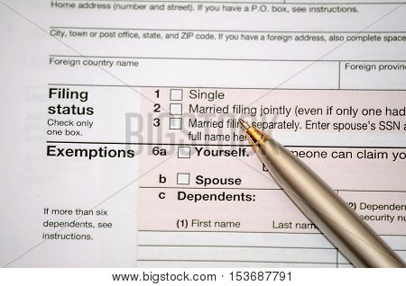 filing federal income tax form as background
