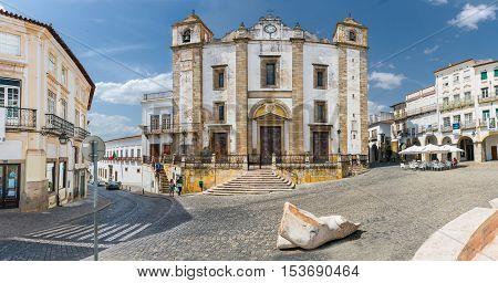Santo Antao Church  in the Giraldo Square, Evora, Portugal