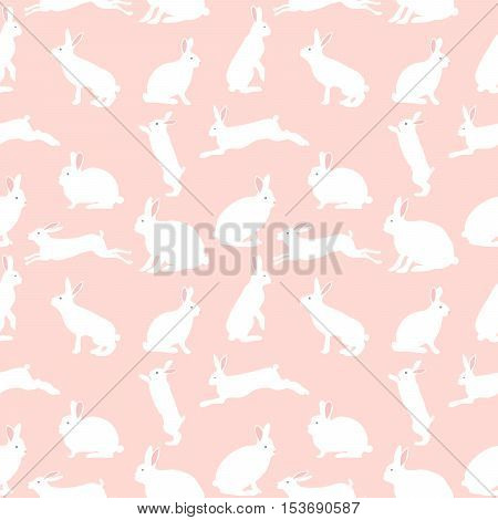 cute rabbit illustration, seamless pattern on pink background, set for baby fashion.