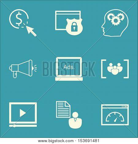 Set Of Advertising Icons On Ppc, Digital Media And Loading Speed Topics. Editable Vector Illustratio