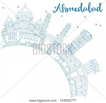 Outline Ahmedabad Skyline with Blue Buildings and Copy Space. Vector Illustration. Business Travel and Tourism Concept with Historic Architecture. Image for Presentation Banner Placard and Web Site.