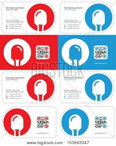 led business cards with a qr code, die cut cards, red and blue colors