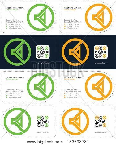 green and yellow colors, speaker business cards with a qr code, die cut cards
