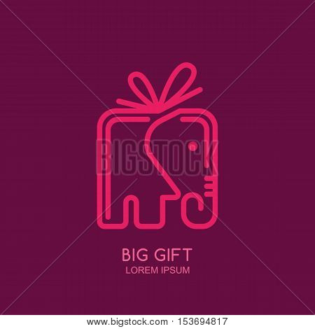Vector Logo, Label Or Emblem Design Template With Linear Style Elephant Gift Box.