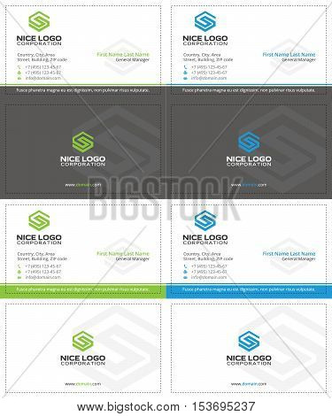 gray business cards with the letter s, green and blue colors