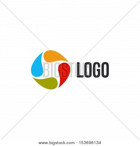 Isolated abstract colorful drops circle logo. Liquid circulation logotype. Kids art school icon, Round paint sign. Natural symbol. Vector drops illustration