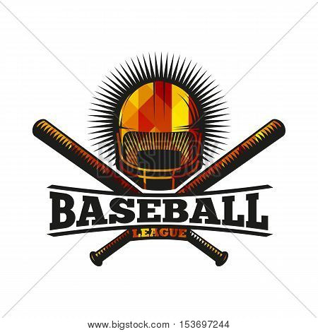 Isolated abstract colorful baseball helmet with bats logo. Professional sport equipment logotype. Safety element icon. American national game sign. Vector baseball equipment illustration