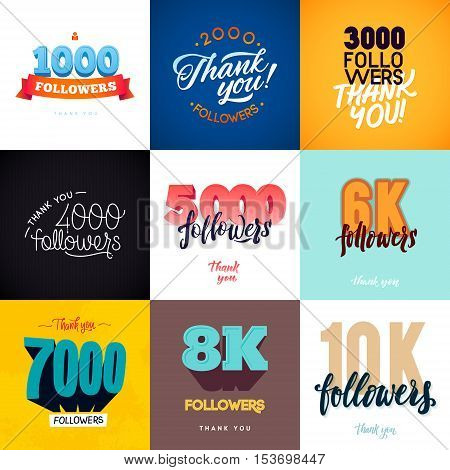 Vector thanks design template 9 SET for network friends and followers. Thank you followers card. Image for Social Networks. Web user celebrates a large number of subscribers or followers
