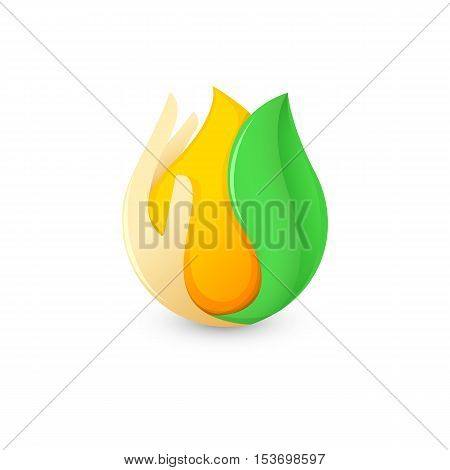 Isolated abstract honey drop in human palm and green leaf logo. Natural bee wax logotype. Vector golden organic product icon. Template for print or packing design. Vector illustration