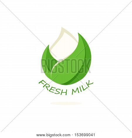 Isolated abstract white drop of milk in green fresh leaf logo. Dairy products logotype. Sour cream or kefir icon. Organic products sign. Vector drop of milk illustration