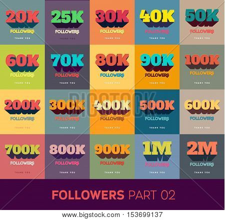Retro Thanks Design SET for Network Friends and Followers. Thank you followers card. Image for Social Networks. Web user celebrates a large number of subscribers or followers.