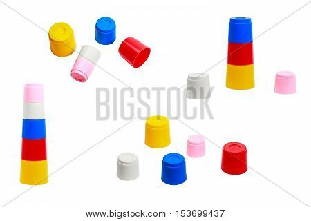 Educational toy for babies colorful molds of different sizes attaching to one another collection on white background
