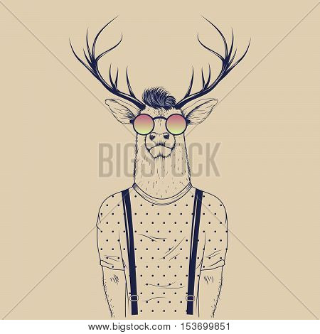Modern deer hipster like a human. Vector illustration