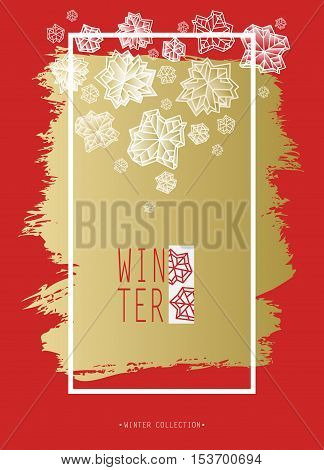 Winter polygonal trendy style snowflakes on red and gold background. Winter holidays snowfall concept winter label. Vertical frame. Fall snowflake snow red white vector illustration stock vector.