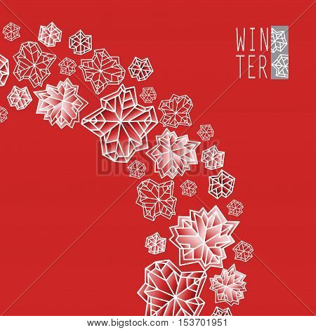 Swirl design. Winter polygonal trendy style snowflakes on red and gold background. Winter holidays snowfall concept winter label. Snowflake snow red white vector illustration stock vector.