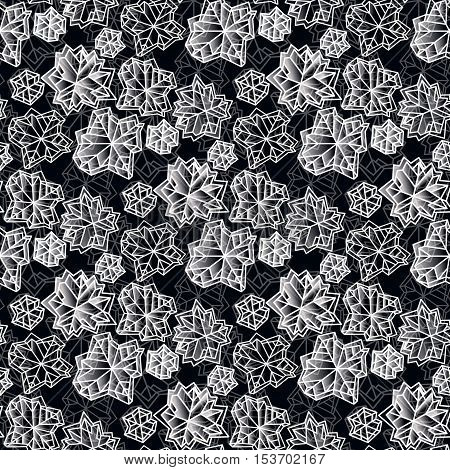 Winter seamless pattern with polygonal trendy style white snowflakes on black background. Winter holidays snowfall concept. Snowflake snow white black vector illustration stock vector.