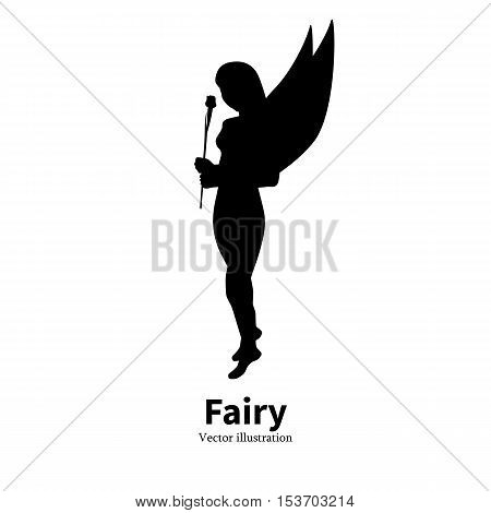Vector illustration of black silhouette of a girl with a flower and wings. Fairy on isolated white background. Side view of the profile. Logo icon faerie. Female silhouette pixy.