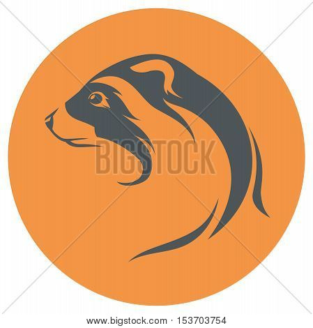 Ferret head icon and silhouette. in one color