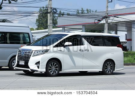 CHIANGMAI THAILAND - OCTOBER 8 2016: Private Toyota Alpha car. Family van with hybrid drive to large families. Photo at road no.121 Chiangmai thailand.
