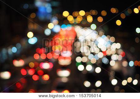 Blur city night traffic jams on road in Bangkok Thailand. Blur night lights background.