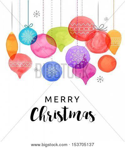 Christmas backgound with Christmas balls, watercolor vibrant colors Christmas decoration, Merry Christmas greeting card