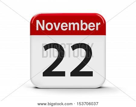 Calendar web button - The Twenty Second of November three-dimensional rendering 3D illustration
