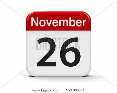 Calendar web button - The Twenty Sixth of November - World Information Day three-dimensional rendering 3D illustration