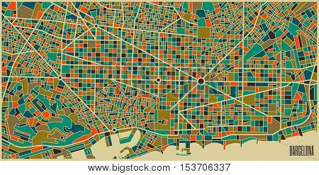 Barcelona vector map. Colorful vintage design base for travel card advertising gift or poster.
