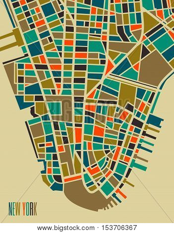 New York vector map. Colorful vintage design base for travel card advertising gift or poster.