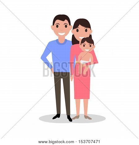 Vector illustration of a cartoon dear happy family. Drawing image isolated on white background. Lovely cute family portrait. Flat style. Picture parents with their newborn baby.