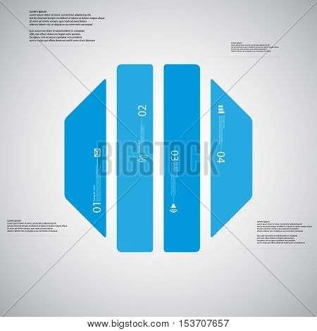 Octagon Illustration Template Consists Of Four Blue Parts On Light Background