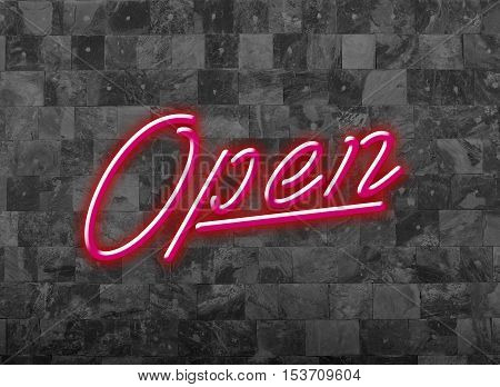 Open Sign in Glooming Pink Red Neon Font on a dark Wall for attraction of customers