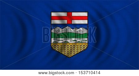 Albertan provincial official flag symbol. Canada banner and background. Canadian AB patriotic element. Flag of Canadian province of Alberta wavy detailed fabric texture accurate size illustration