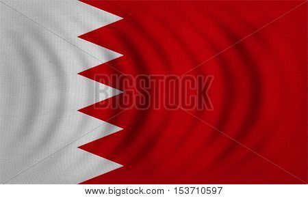 Bahraini national official flag. Patriotic symbol banner element background. Correct colors. Flag of Bahrain wavy with real detailed fabric texture accurate size illustration