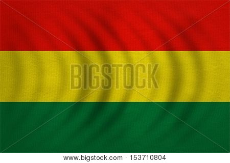 Bolivian national official flag. Patriotic symbol banner element background. Correct colors. Flag of Bolivia wavy with real detailed fabric texture accurate size illustration